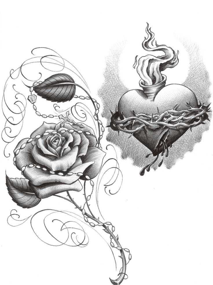a67f28642a918 Black And Grey Sacred Heart With Rose Tattoo Design By 2Face Tattoo