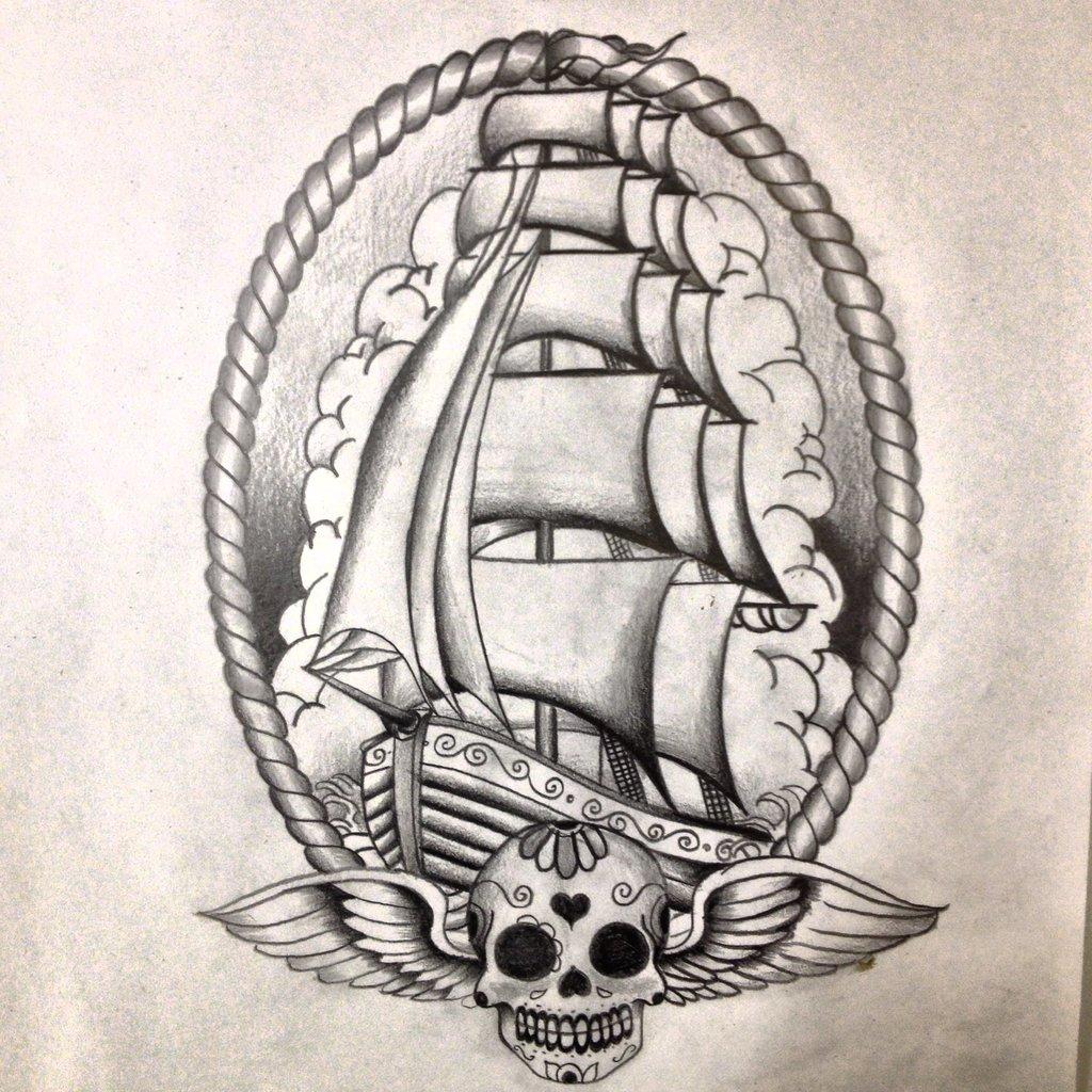 boat in frame with sugar skull tattoo design by dazzbishop. Black Bedroom Furniture Sets. Home Design Ideas