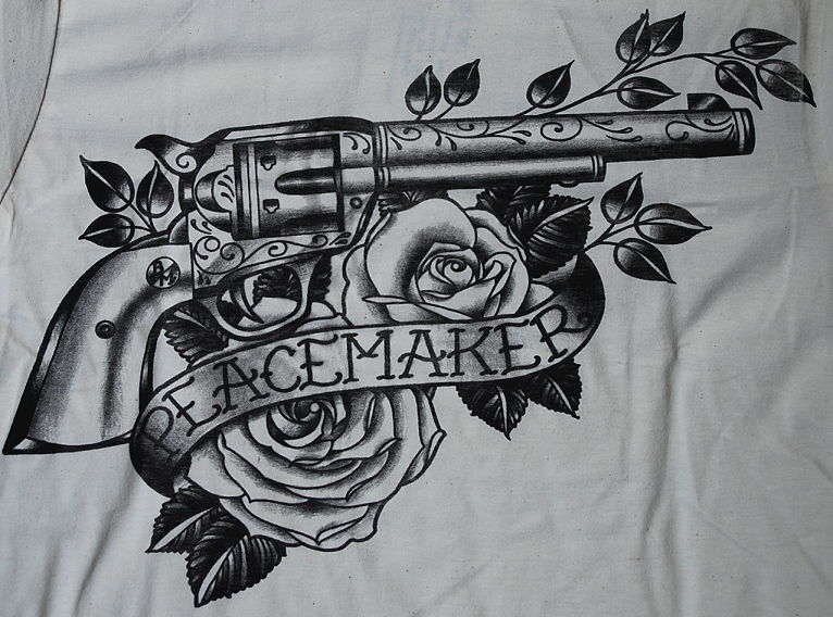 691e559d9cefb Black Ink Gun With Roses And Banner Tattoo Design