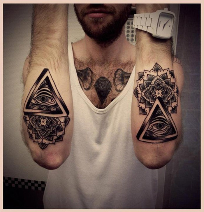 black ink illuminati eye with mandala flower tattoo on man. Black Bedroom Furniture Sets. Home Design Ideas