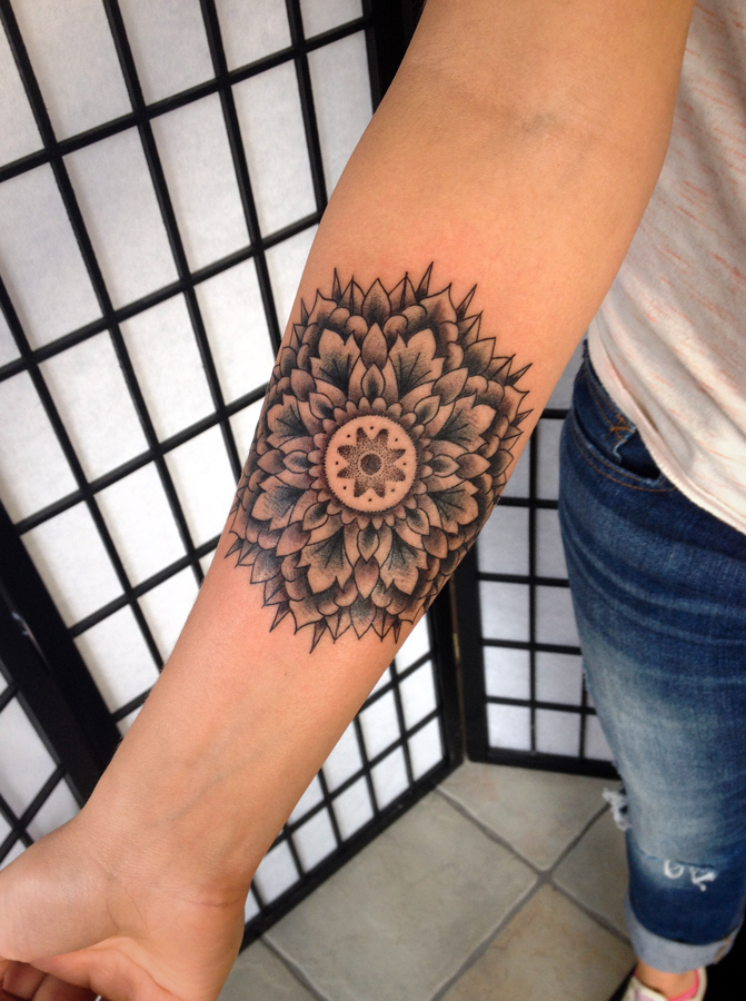 Amazing mandala flower tattoo on wrist for Forearm flower tattoos