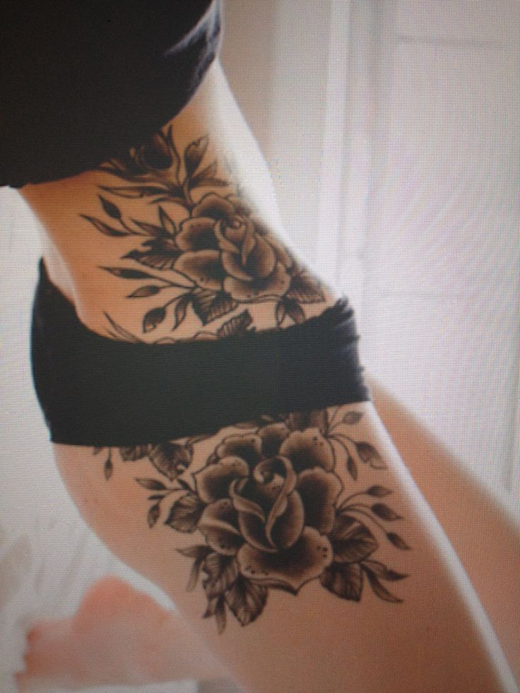 Black ink roses tattoo on girl side hip for Black tattoo ink