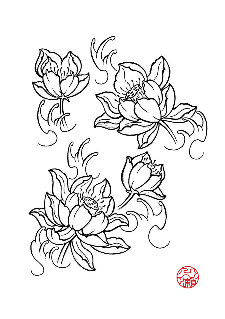 Black Lotus Flower Tattoo Flash By Itinoshe Kenji