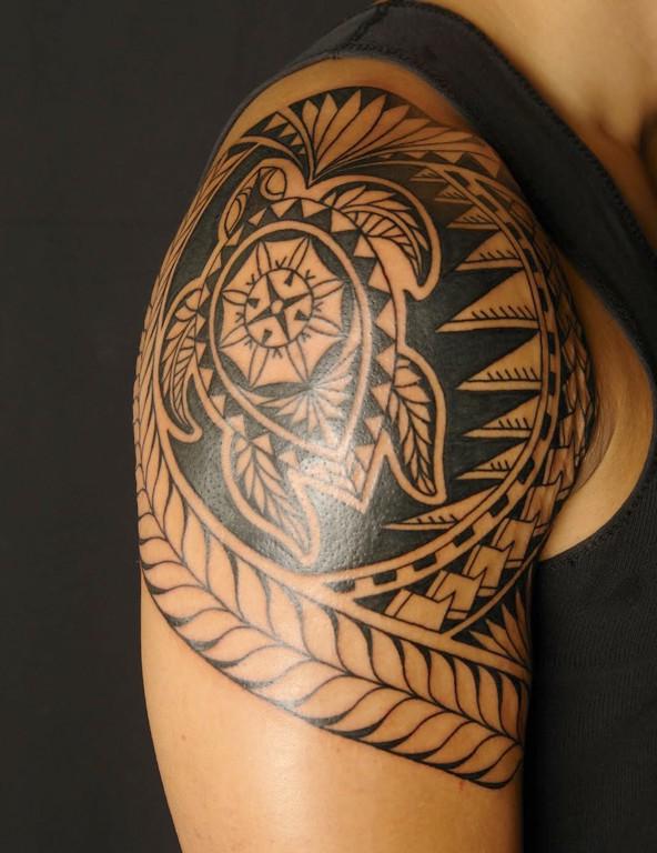 5d50a64e3 Black Polynesian Turtle Tattoo On Right Shoulder