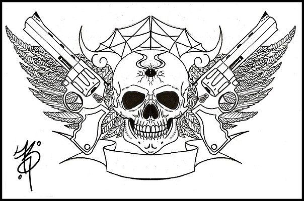 Skulls And Guns Tattoos: 14 Latest Gun Tattoo Designs And Ideas