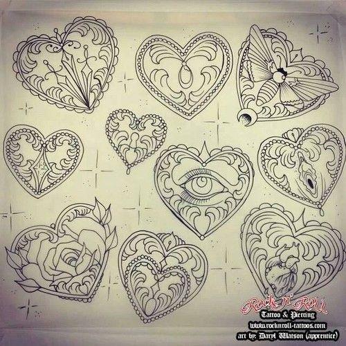 Image Gallery heart tattoo flash