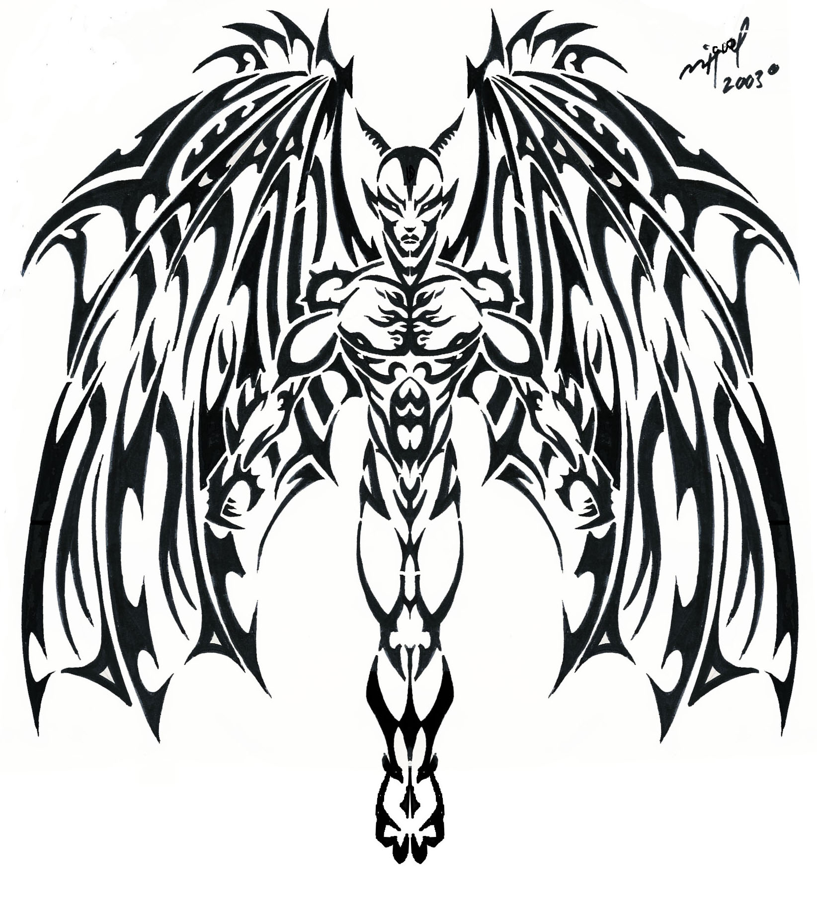 Tribal-Tattoos Black-Tribal-Devil-Tattoo-Stencil-By-Mig-Fernandez