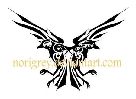 black two tribal crow tattoo stencil by ennex rh askideas com tribal crow tattoo meaning Tribal Crow Tattoo Skull