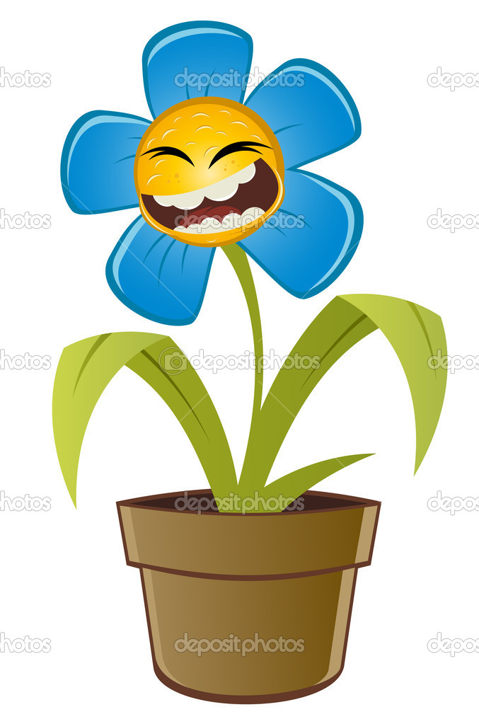 Funny Flower Laughing Face Clipart
