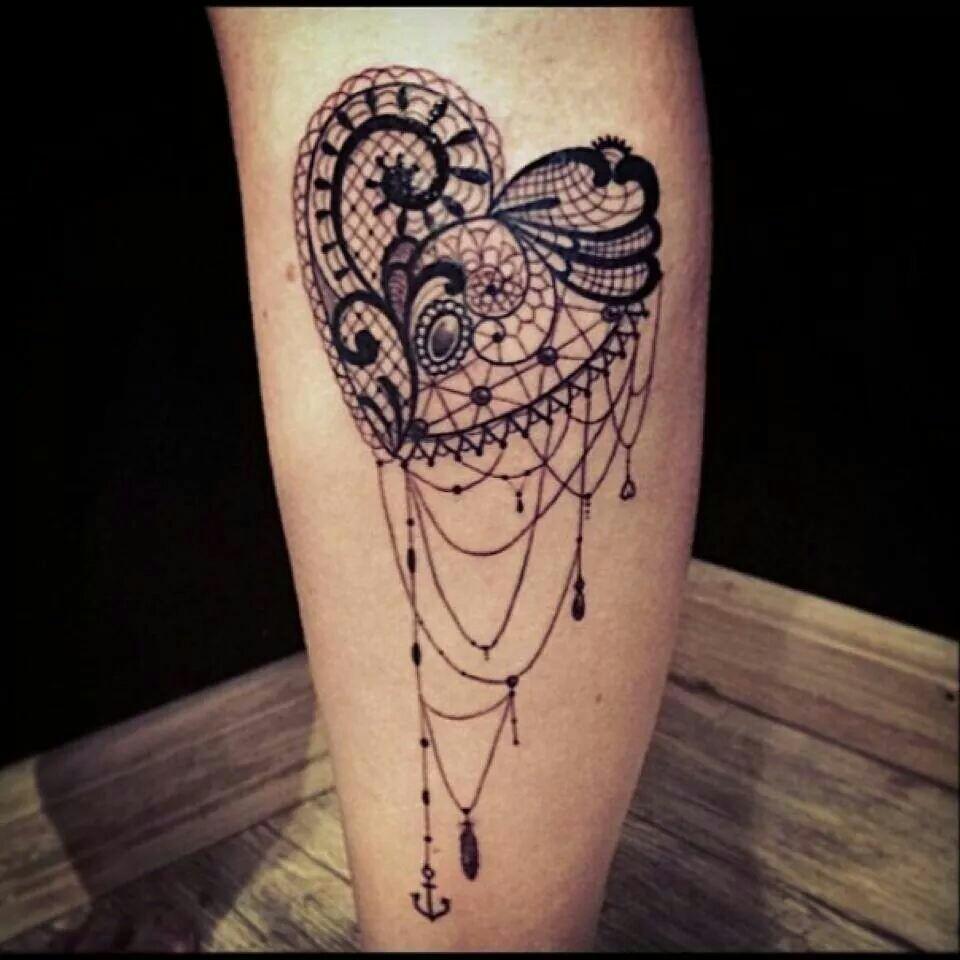 Lace Heart Tattoo On Leg