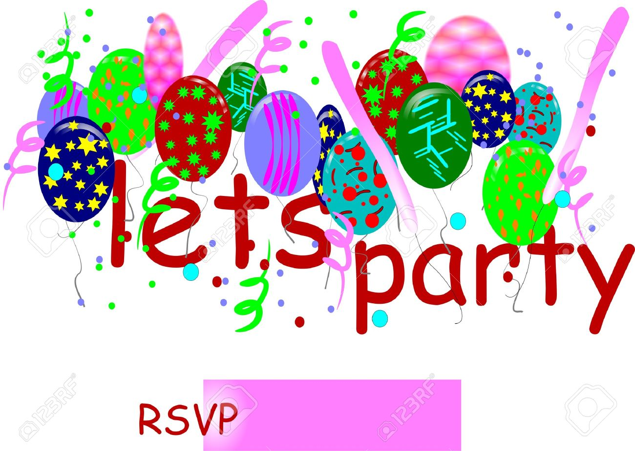 Let's Party Invitation Card