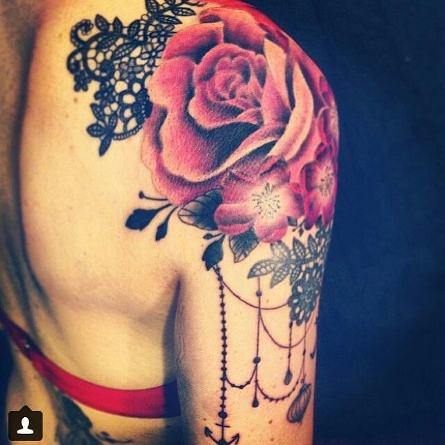 Rose Flower And Lace Tattoo On Girl Right Shoulder