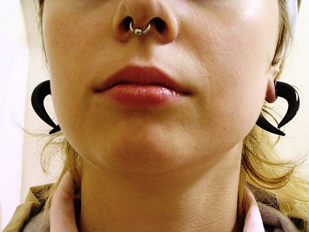 Septum Bead Ring Nose Piercing Picture