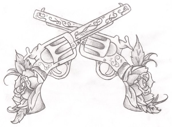 Rose And Gun Tattoo Designs Images amp Pictures Becuo