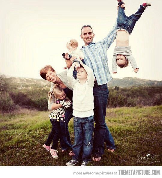 upside down kid family posing for photo funny picture
