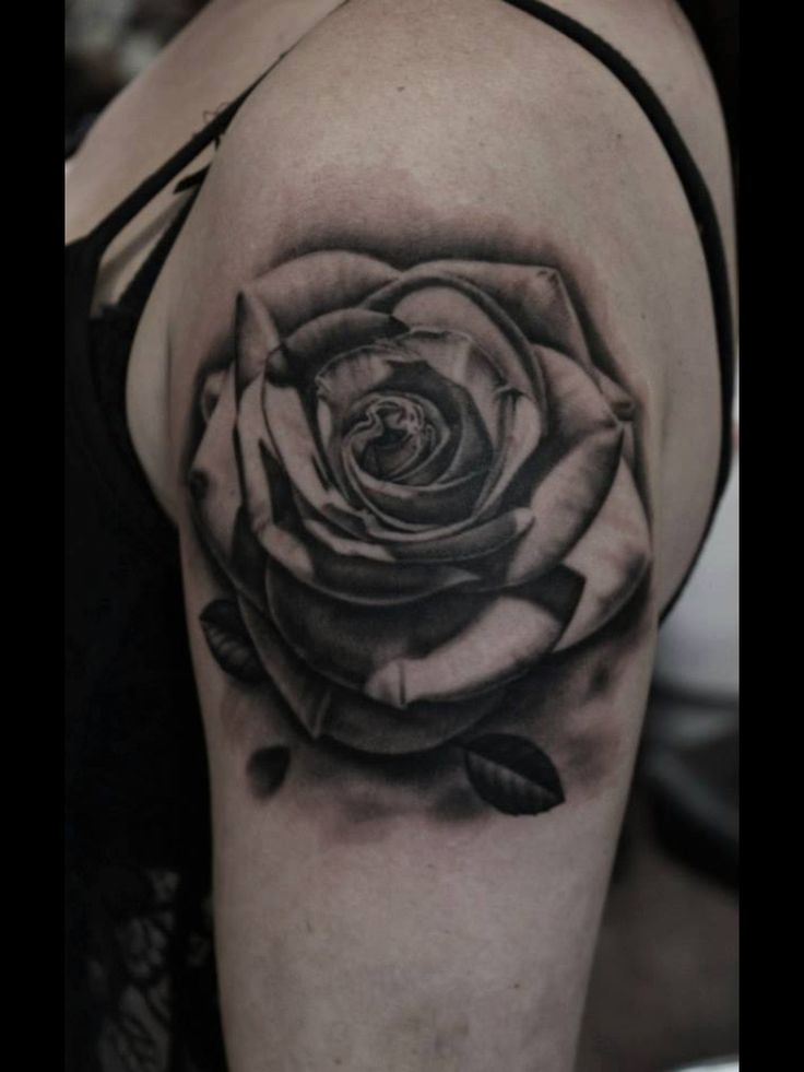 3d black and grey rose tattoo on girl left shoulder. Black Bedroom Furniture Sets. Home Design Ideas