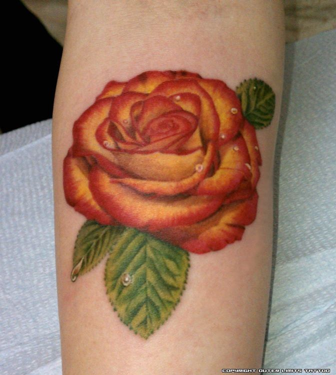 2 unique orange rose tattoo on thigh for 3 roses tattoo