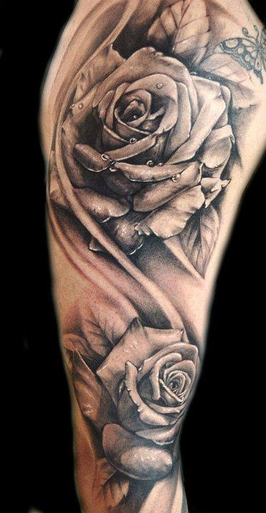7 grey ink rose tattoo designs images for Black and gray rose tattoos