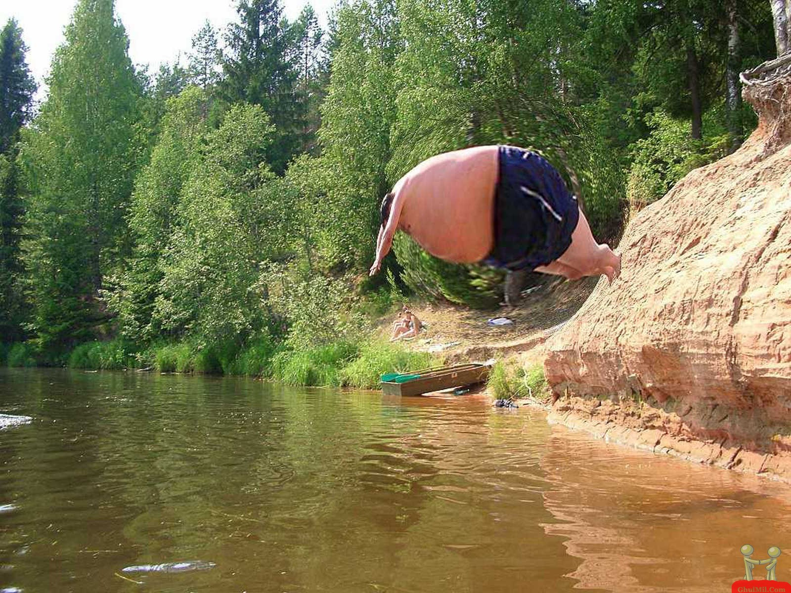 Amazing Fat Man Jumping In Pond Funny Image