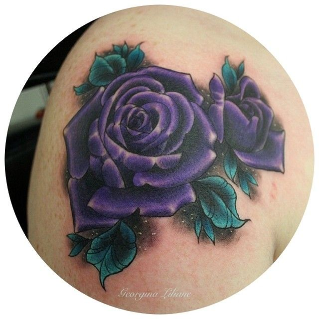 3ea41bae3 Amazing Purple Rose Tattoo Design For Shoulder By Georgina Liliane