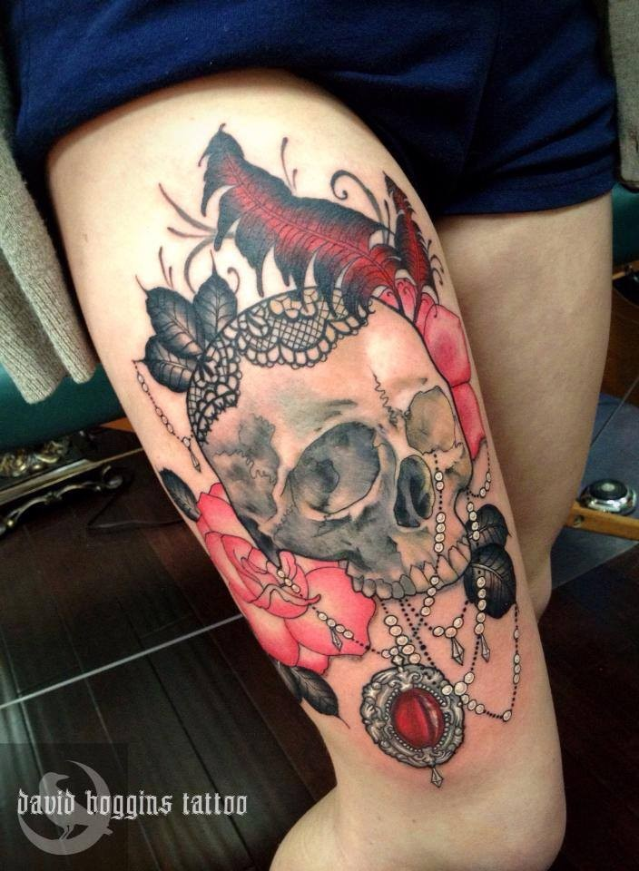 amazing skull and rose tattoo on arm. Black Bedroom Furniture Sets. Home Design Ideas