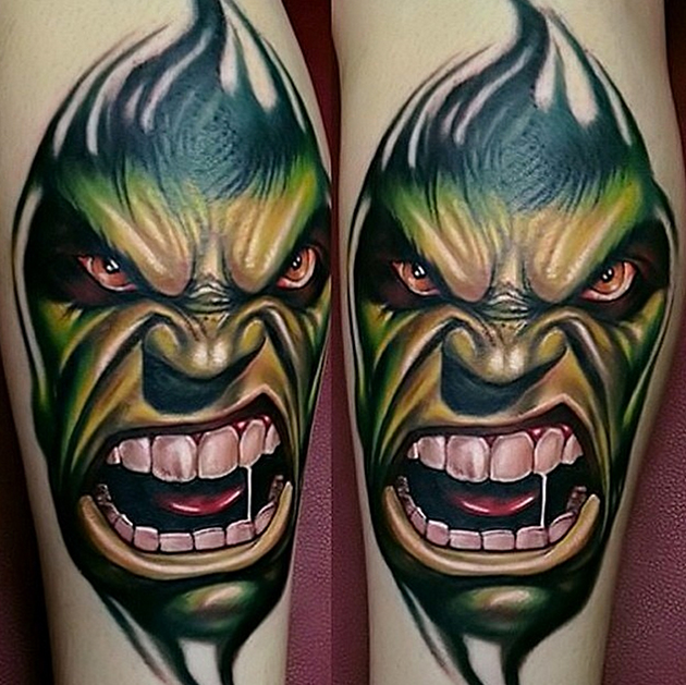 green ink hulk face tattoo on hand. Black Bedroom Furniture Sets. Home Design Ideas