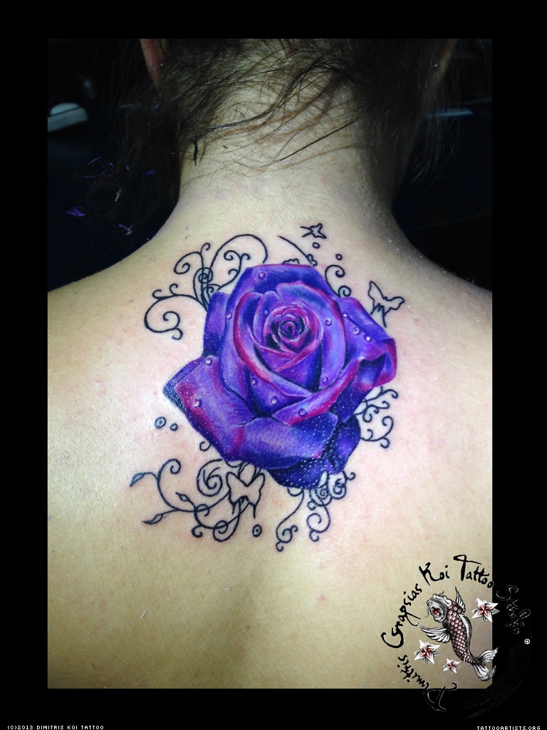 33 awesome purple rose tattoos images pictures and ideas. Black Bedroom Furniture Sets. Home Design Ideas
