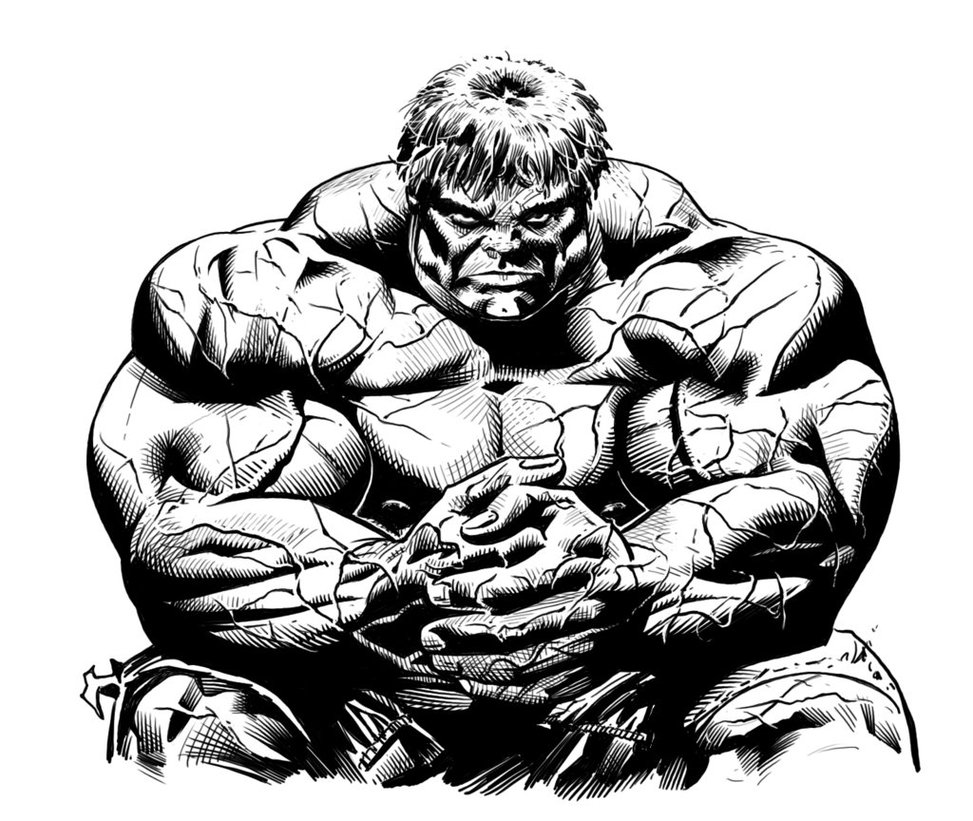 Awesome Black Ink Hulk Tattoo Design By Luis Puig