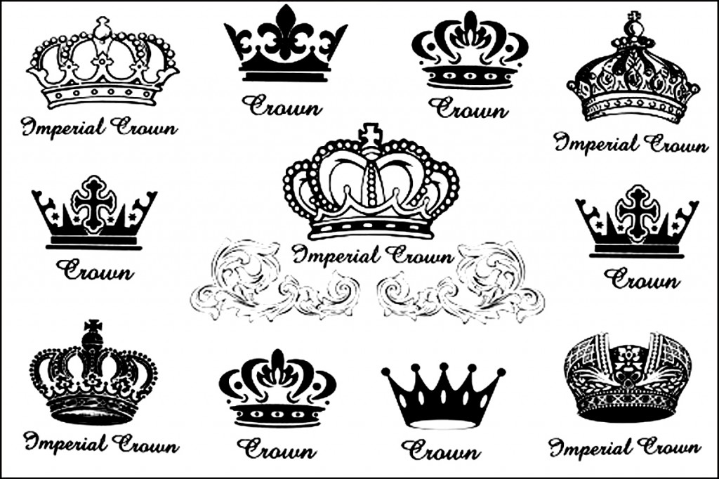 Awesome Black Queen Crown Tattoo Flash