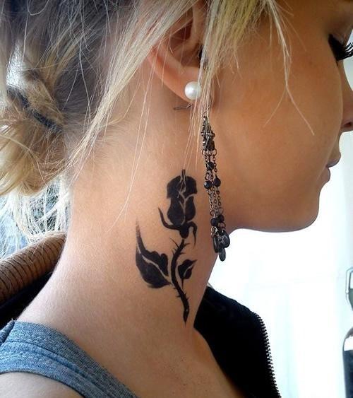 30 black rose tattoo designs images and picture ideas - Tatouage nuque femme ...
