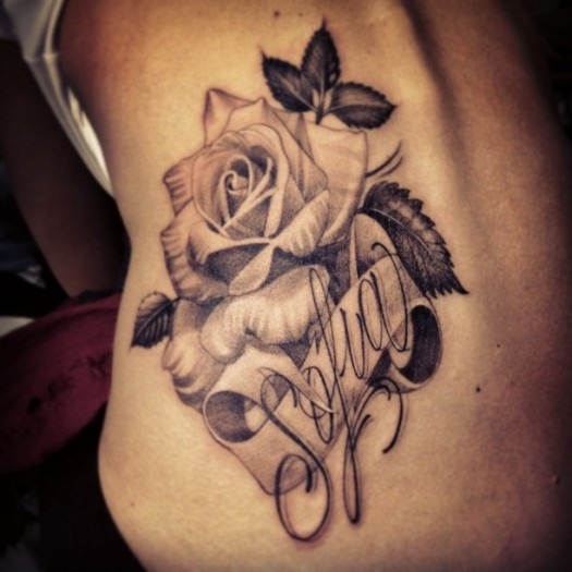Awesome Grey Ink Rose With Banner Tattoo Design