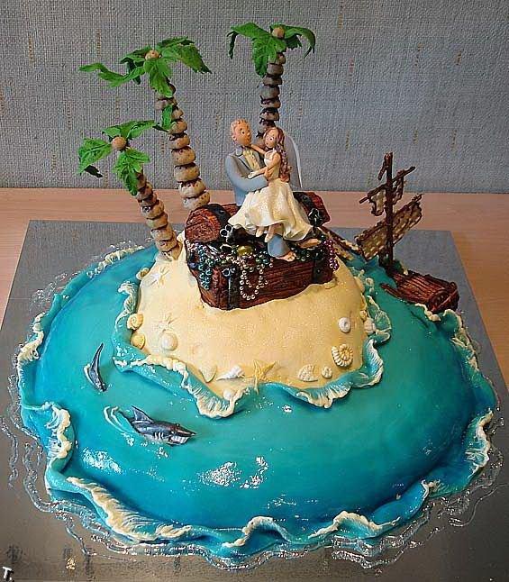 Beach Funny Wedding Cake