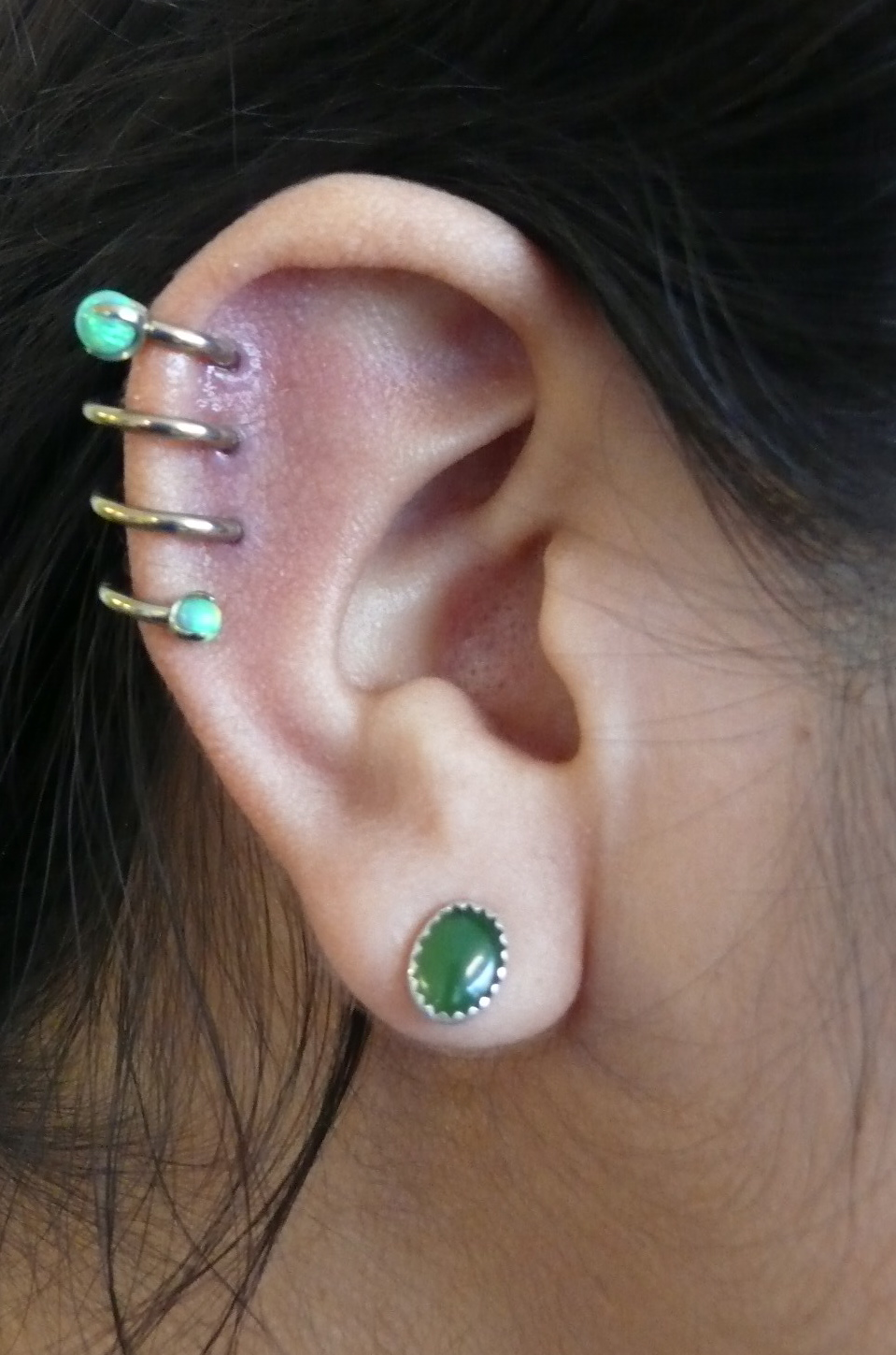 Dual Lobe Piercing With Tragus And Spiral Piercings Ear Piercing Jewelry