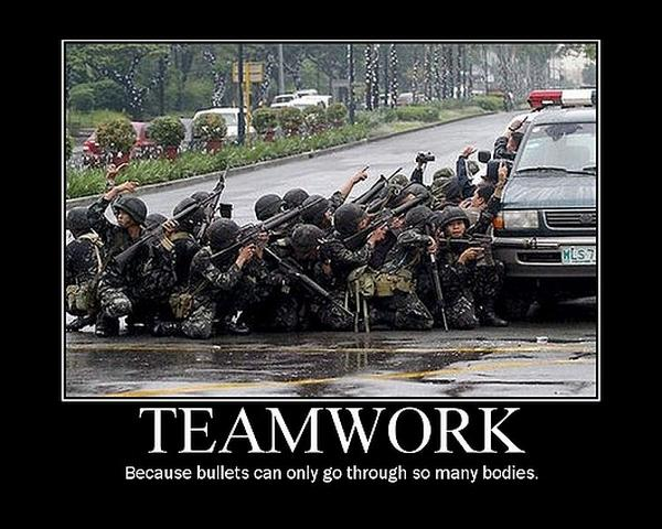 Because Bullets Can Only Go Through So Many Bodies Funny Teamwork