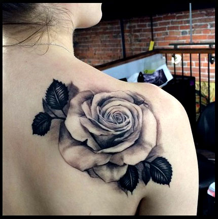 7 Grey Ink Rose Tattoo Designs Images