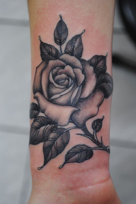 3 Awesome Black Grey Rose Tattoos On Wrist