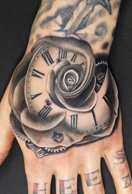 Black Clock Rose Tattoo On Hand