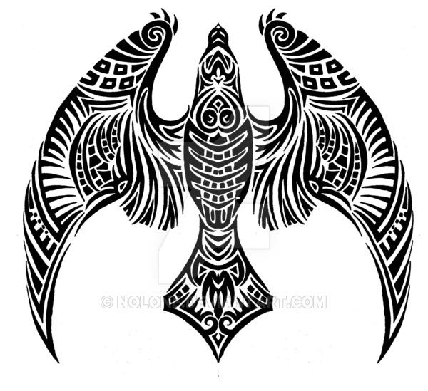 Black Flying Hawk Tattoo Stencil By Nolone