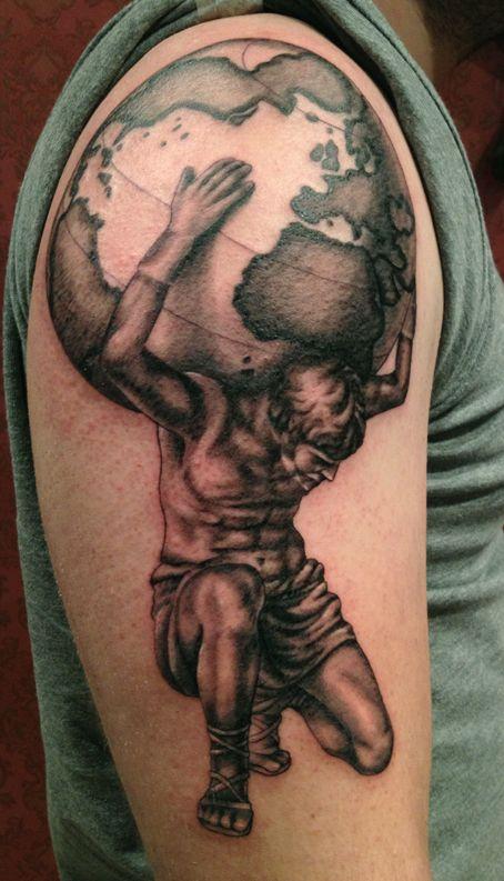 Black Ink Greek Atlas Tattoo On Man Right Half Sleeve