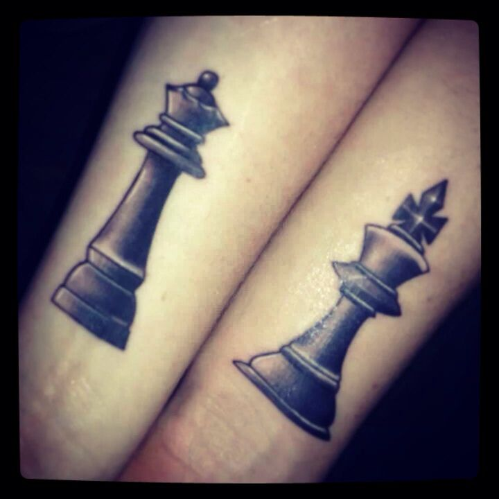 Black Ink King And Queen Chess Pieces Tattoo On Couple Wrist