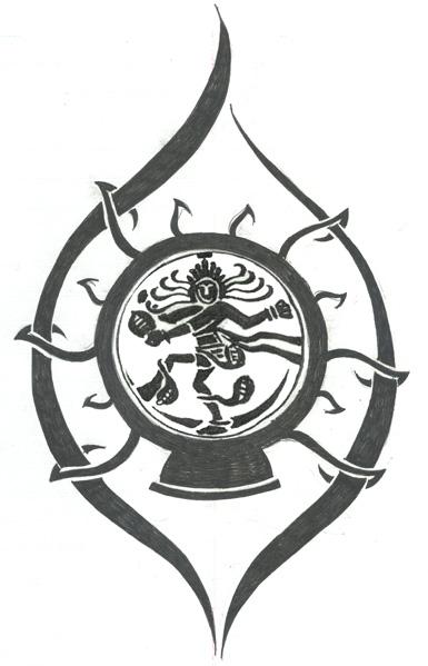 Black Ink Natraj Tattoo Stencil By Rupa Dasgupta