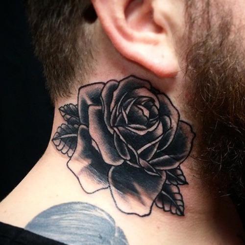 Black Ink Rose Tattoo On Man Side Neck