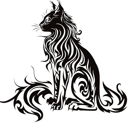 Black Tribal Bobcat Tattoo Stencil