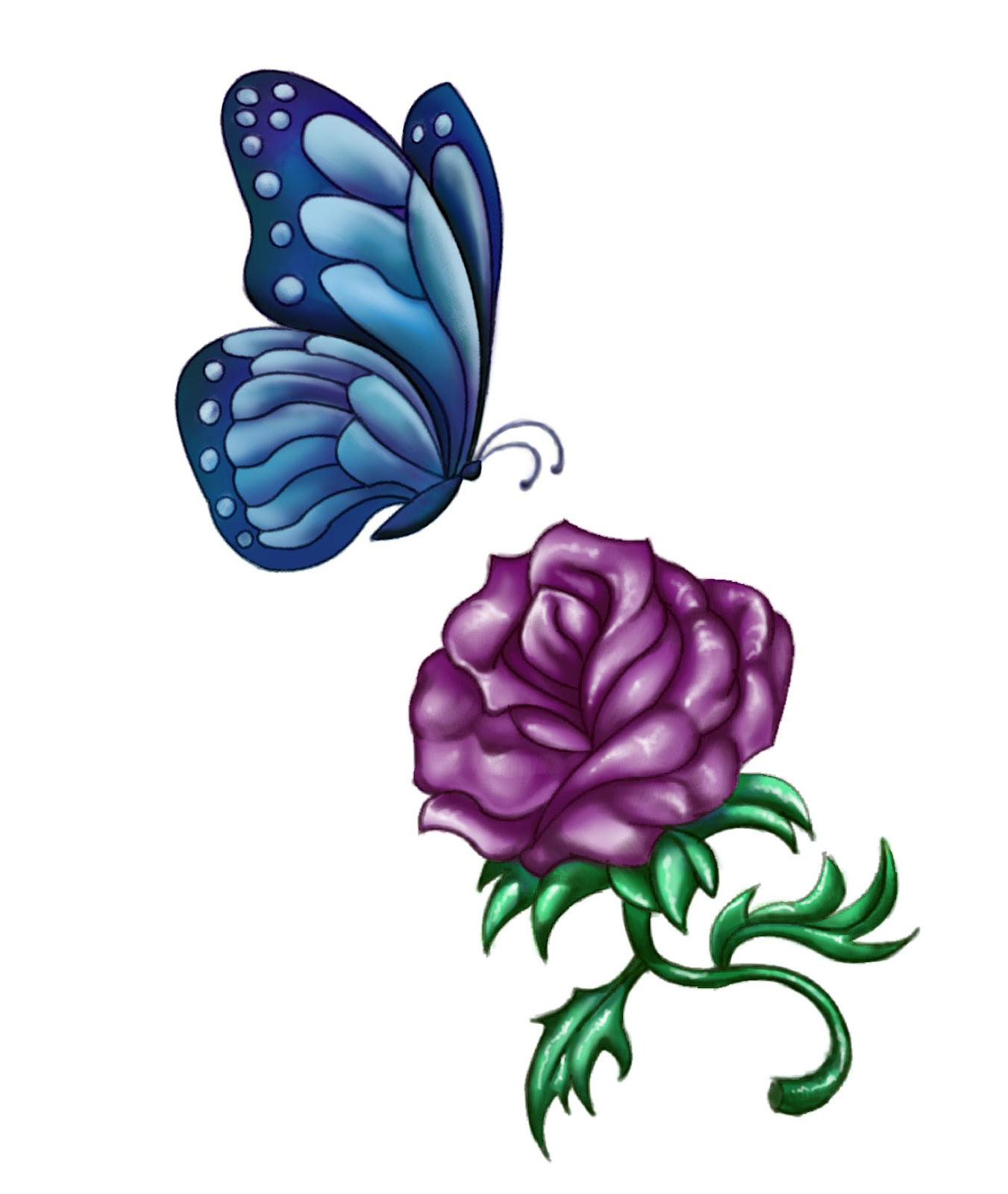 Tattoo Ideas With Roses: Purple Rose Tattoos