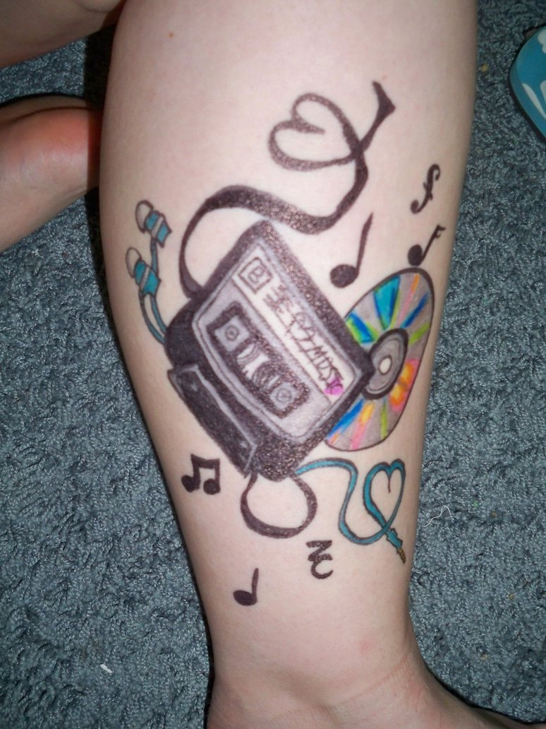 cassette with disc and earphone tattoo on leg by liz. Black Bedroom Furniture Sets. Home Design Ideas