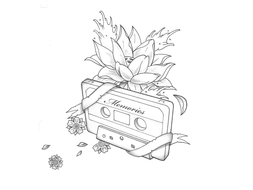 Cassette With Ribbon And Lotus Flower Tattoo Design By Kyle