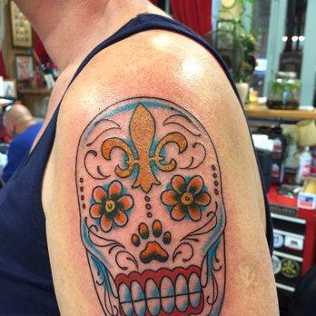 0e045003b19de Colorful mardi gras sugar skull tattoo on left shoulder jpg 348x348 Mardi  gras tattoo sleeve