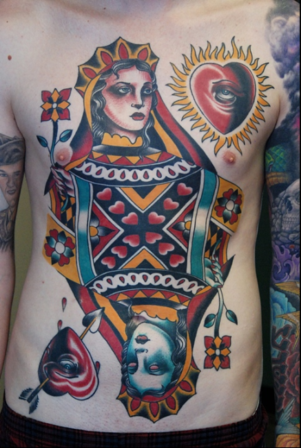 Colorful Traditional Queen Of Heart Tattoo On Man Full Body