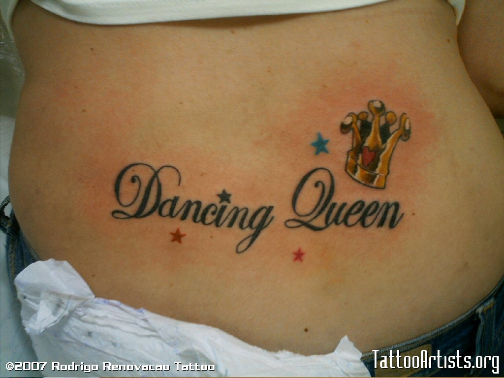 Dancing Queen Wording And Crown With Tiny Stars Tattoo Design