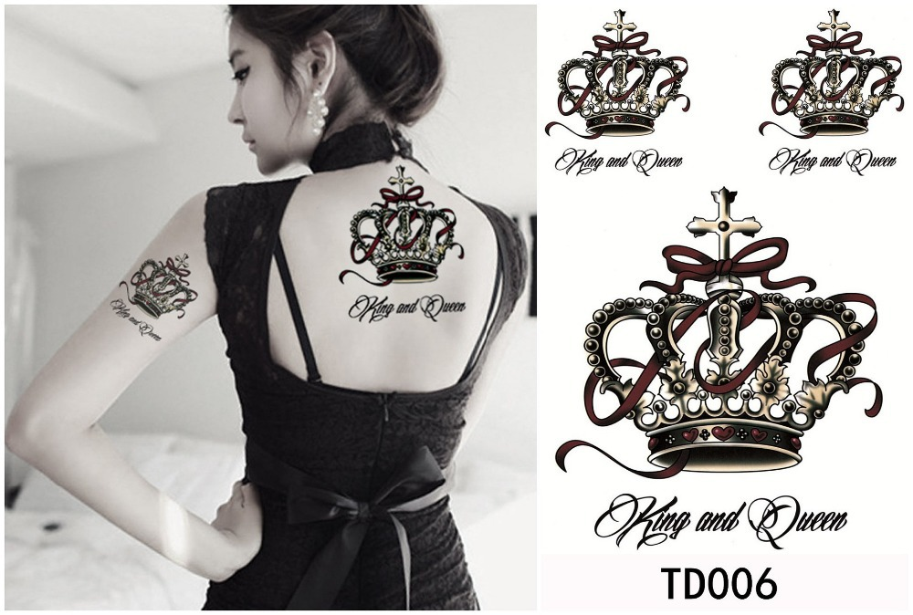 King And Queen - Black Crown Tattoo On Girl Upper Back And Half Sleeve